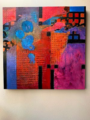 "Mixed Media Abstract Painting, Contemporary Art ""Songs of Isolation"" by Carol Nelson"