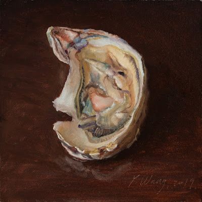 Oyster painting seafood original daily oil painting a day small work of art aceo