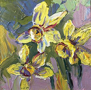 New Daffodil Palette Knife Painting by Niki Gulley