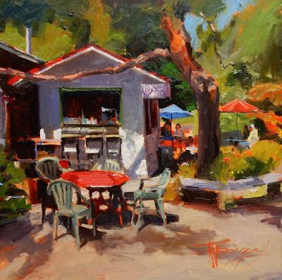 """The New Rose Cafe"" Bainbridge Island oil painting by Robin Weiss"