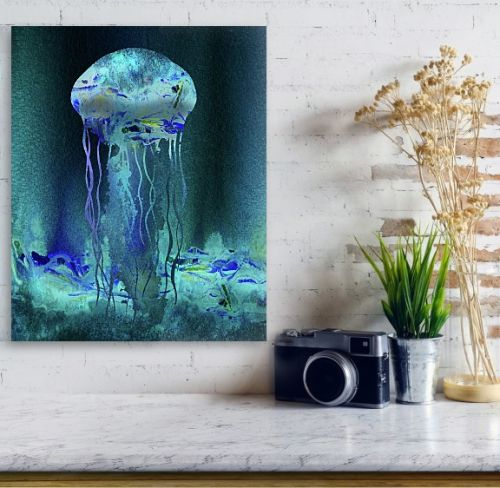 Glowing Jellyfish Under The Sea Watercolor Painting