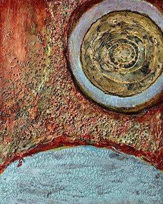 "Abstract Contemporary Mixed Media Art Painting ""SPHERES"" by Santa Fe Contemporary Artist Sandra Duran Wilson"