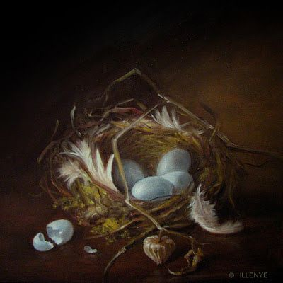 Robin's Nest with Feathers and Broken Egg 5x5 in. oil painting