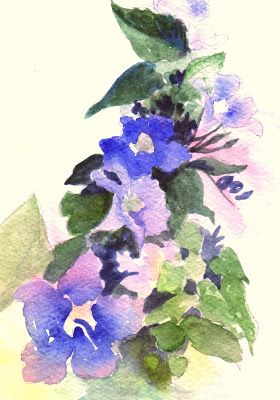 """Oil Painting, """"Sky Vine,"""" 5x7 Floral Watercolor Painting, Matted"""