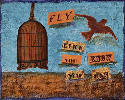 BOGO -Bird Painting Mixed Media Abstract Painting,Contemporary Art