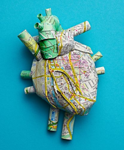 Highways and Rivers Form Capillaries on Anatomical Paper Organs by Katrin Rodegast
