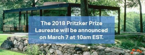 2018 Pritzker Prize To Be Announced March 7th