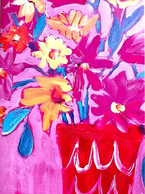 "Expressive Still Life Floral Greeting Card, ""TICKLED PINK CARD"" by Texas Contemporary Texas Artist Jill Haglund"