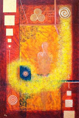 """Abstract Mixed Media Painting, Mystical Figure Art """"Confianza"""" by Contemporary Arizona Artist Pat Stacy"""