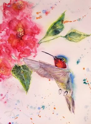 """Perfect Hummingbird Morning"" Original Hummingbird Hibiscus watercolor by Janice Trane Jones"