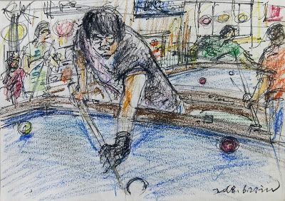 Sketches of billiard game with architects in Seoul