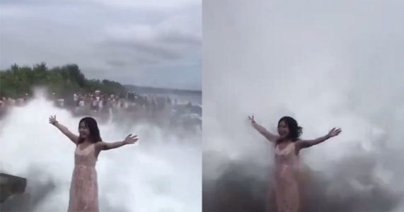 Tourist Posing for Photo Gets Blasted Off Rock by Huge Crashing Wave