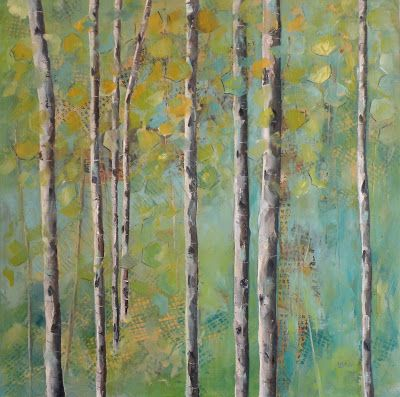 """SPRING ASPEN"" ORIGINAL MIXED MEDIA ON CRADLED PANEL © SAUNDRA LANE FINE ART"