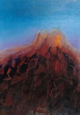 "Contemporary Landscape Art Painting, Mountain ""The Summit"" by Arizona Abstract Artist Cynthia A. Berg"