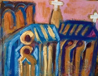 "Abstract , Folk Art, Narrative Art Painting ""Notre Dame"