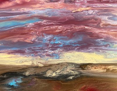 """Abstract Landscape, Sunset Painting, Contemporary Landscape """"REFLECTING BLUE II"""" by International Contemporary Artist Kimberly Conrad"""