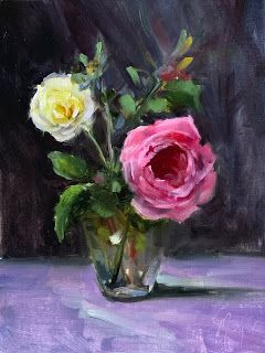 Cabbage Rose Demo Painting by artist Pat Meyer