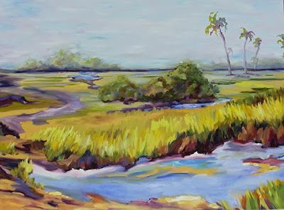 "Georgia Landscape Painting ""Savannah Tidal Marsh"" by Georgia Artist Pat Warren"
