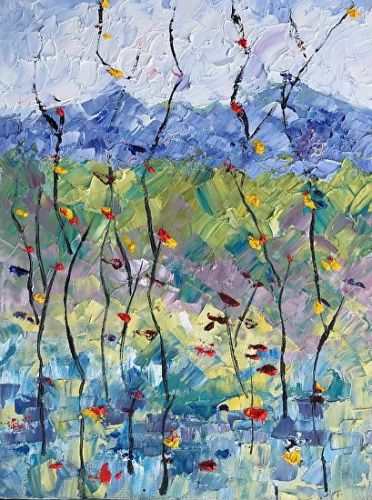 "Abstract Palette Knife Oil Aspen Tree, Flower Landscape Painting ""Summer Celebration 4"" by Colorado Impressionist Judith Babcock"