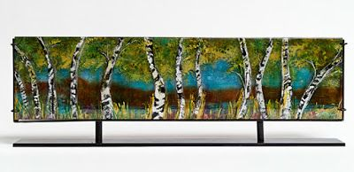 "Fine Art Horizontal Free Standing Sculpture, Mixed Media ""Aspen Sunrise"" by Santa Fe Artist Sandra Duran Wilson"