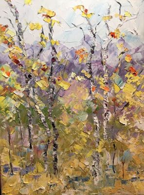 "Palette Knife Aspen Tree Impressionist Landscape Painting ""Colorado Majesty"" by Colorado Impressionist Judith Babcock"