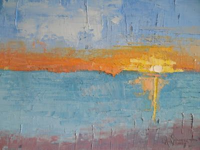 Abstract Painting, Seascape Palette Knife Art, Daily Painting, Small Oil Painting, 11x14