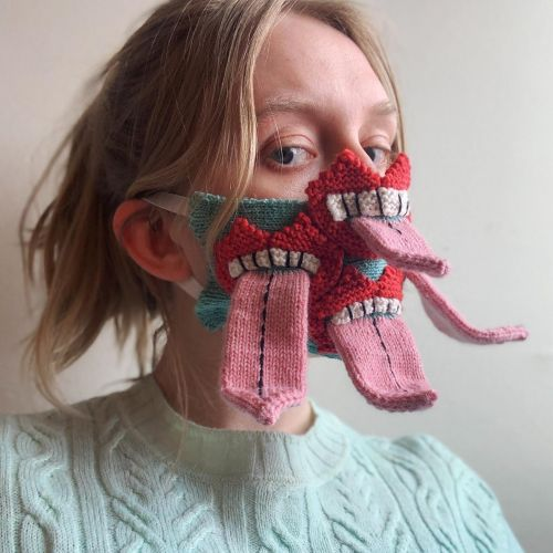 Extra Tongues and Cheeky Grins Knit onto Humorously Grotesque Masks by Ýrúrarí Jóhannsdóttir
