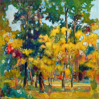 "Colorful Contemporary Landscape Painting, Abstract Landscape, Autumn Trees ""Random Patterns"" by Passionate Purposeful Painter Holly Hunter Berry"