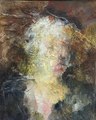 """Abstract Mixed Media Art Painting """"Woman in Hat"""" by Cecelia Catherine Rappaport"""