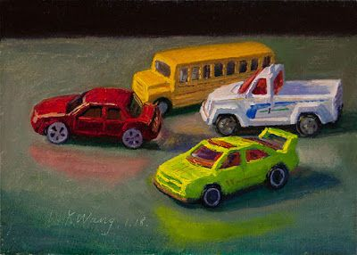 Toy cars original oil painting still life contemporary realism small daily painting a day