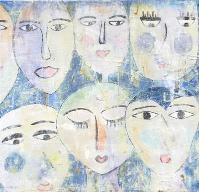 """Contemporary Abstract Expressionist Painting """"FACES IN THE CROWD"""" by Abstract Artist Pamela Fowler Lordi"""