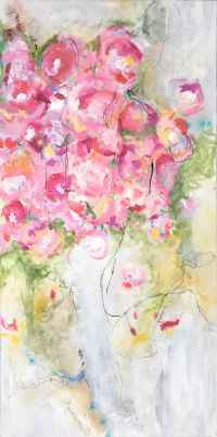 "Contemporary Floral Abstract Painting, ""Crescendo"" by Abstract Artist Pamela Fowler Lordi"