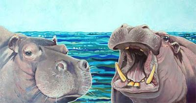"Hippo Art Acrylic Painting ""ILLUSTRATION FOR WE ARE HIPPOPOTAMUS"" by Colorado Artist Nancee Jean Busse"