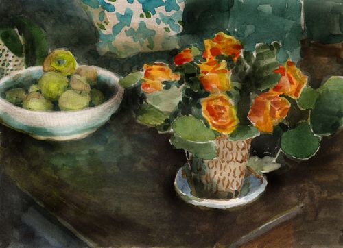Watercolor: Study for Sage and Cider (and some great links and upcoming art festivals)