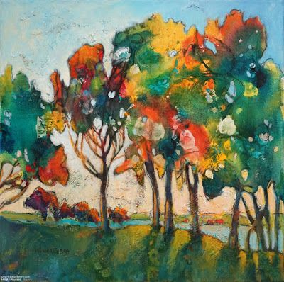 """Colorful Contemporary Landscape Painting, Abstract Landscape, Autumn Trees """"JOY"""" by Passionate Purposeful Painter Holly Hunter Berry"""