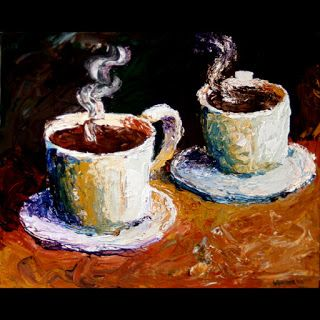 Mark Webster - Palette Knife Coffee Cups Acrylic Painting