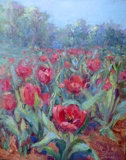 A Tulip Event, New Contemporary Landscape Painting by Sheri Jones
