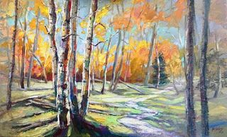 "New ""United Journey"" Palette Knife Aspen Tree Painting by Niki Gulley"