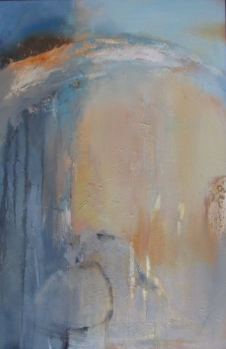 "Contemporary Abstract Painting,Gold Leaf ""Memory of Forever"" by Intuitive Artist Joan Fullerton"
