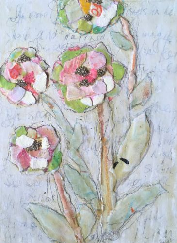 """Contemporary Collage Painting """"PAPER POETRY"""" by Contemporary Expressionist Pamela Fowler Lordi"""