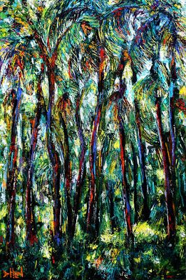 "Tropical Painting Palm Tree Paintings Textured Art Landscape ""Tropical Dance"" by Debra Hurd"