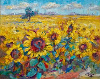 New Cheerful Sunflower Painting by Contemporary Impressionist Niki Gulley