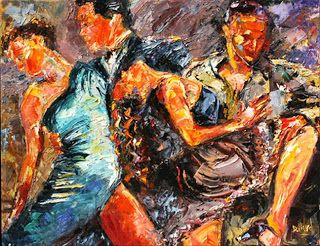 "Abstract Tango Dancer Art Painting, Dancers ""Tango Club III"" by Texas Artist Debra Hurd"