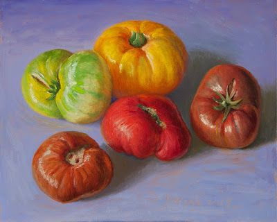 Heirloom tomatoes still life oil painting original daily painting a day