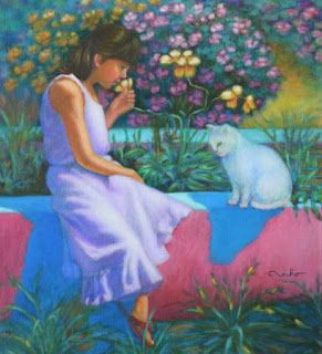 Contemporary Colorful Figure in the Landscape Painting: Best Friends by Houston Artist Vivian T-N Ho