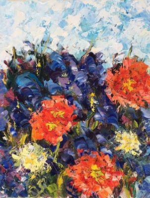 "Original Palette Knife Poppy Flower Oil Painting ""American Beaut"" by Colorado Impressionist Judith Babcock"