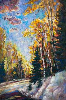 """""""Bend Ahead"""" - New Colorado Aspen Painting by Contemporary Impressionist Niki Gulley"""