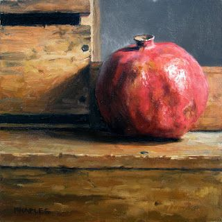 Pomegranate with Antique Wood