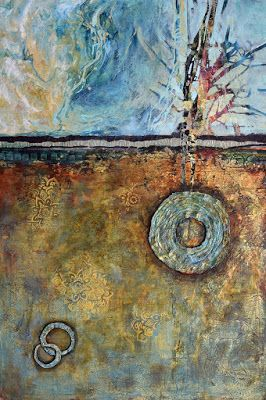 """Large Abstract Painting, Mixed Media, Contemporary Art """"Where the River Meets the Sea"""" by Santa Fe Contemporary Artist Sandra Duran Wilson"""
