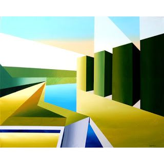 Mark Webster - The Cubist Creek Abstract Acrylic Painting